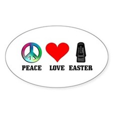 Peace Love Tiki Easter Oval Decal