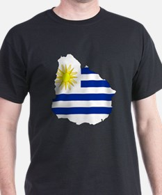 Uruguay Flag Map T-Shirt