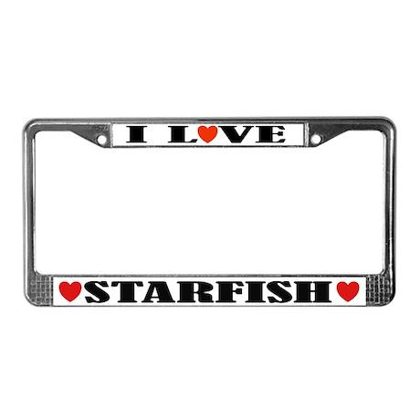 I Love Starfish License Plate Frame