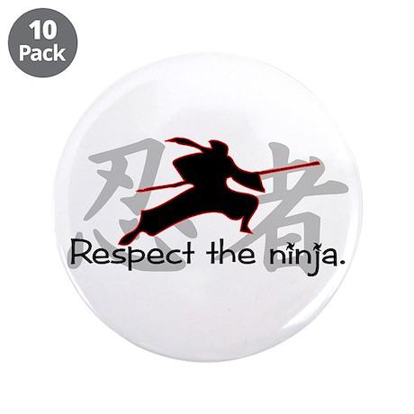 "Ninja Respect (Kanji) 3.5"" Button (10 pack)"