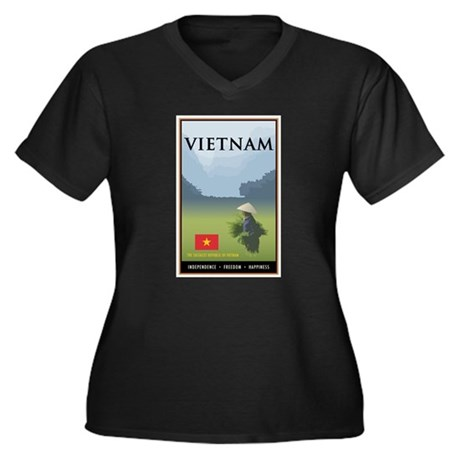 Vietnam Women's Plus Size V-Neck Dark T-Shirt