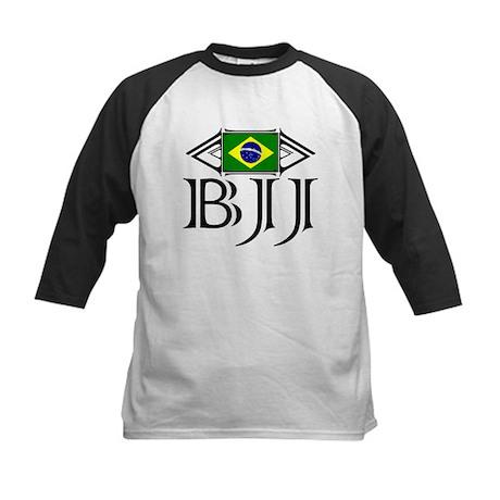 BJJ - Flag - Black Kids Baseball Jersey