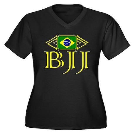 BJJ - Flag - Yellow Women's Plus Size V-Neck Dark