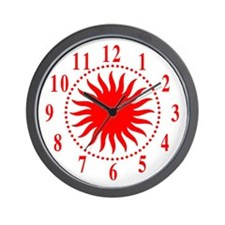 Red Sunburst Large Numbers Wall Clock