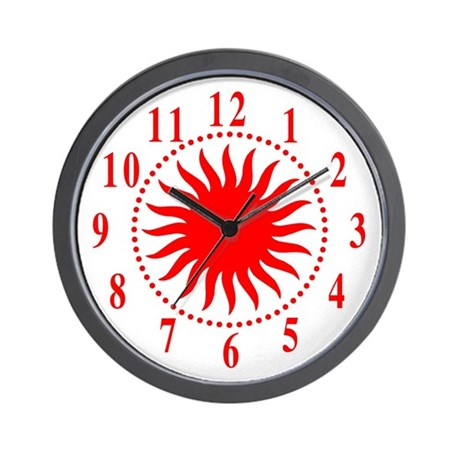 Red Sunburst Large Numbers Wall Clock By Symmetricarts