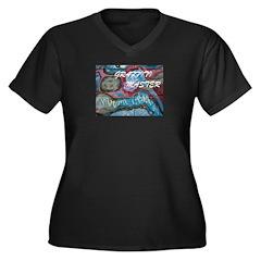 graffiti wear Women's Plus Size V-Neck Dark T-Shir