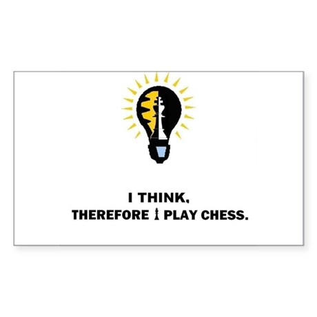 I think therefore I play chess-Rectangle Sticker