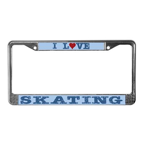 I Love Skating License Plate Frame