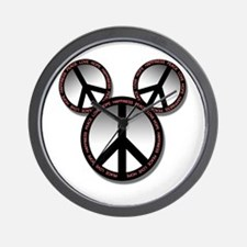 Peace love hope black Wall Clock