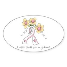 Pink For Aunt Oval Decal