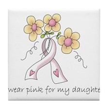 Pink For Daughter Tile Coaster