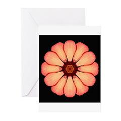 Orange-Red Zinnia I Greeting Cards (Pk of 10)
