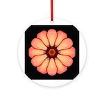 Orange-Red Zinnia I Ornament (Round)