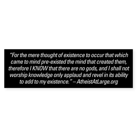 AtheistAtLarge Quote bumper sticker