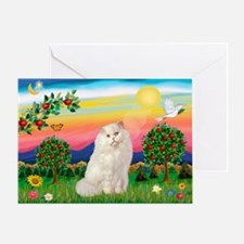 Bright Country / White Persian Greeting Card