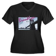 Unique Brookings Women's Plus Size V-Neck Dark T-Shirt
