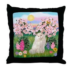 Blossoms / White Persian Throw Pillow