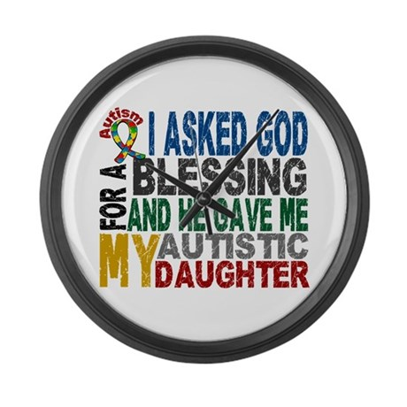 Blessing 5 Autistic Daughter Large Wall Clock
