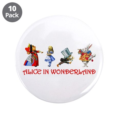"ALICE IN WONDERLAND & FRIENDS 3.5"" Button"