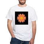 Orange Dahlia I White T-Shirt