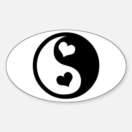 Heart Yin Yang Oval Decal