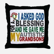 Blessing 5 Autistic Grandsons Throw Pillow