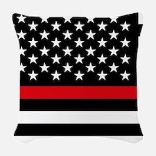 Firefighter Flag Woven Throw Pillow