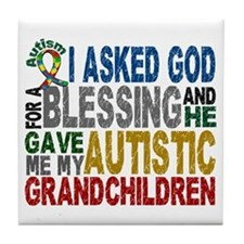 Blessing 5 Autistic Grandchildren Tile Coaster