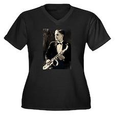 Cute Swing music Women's Plus Size V-Neck Dark T-Shirt