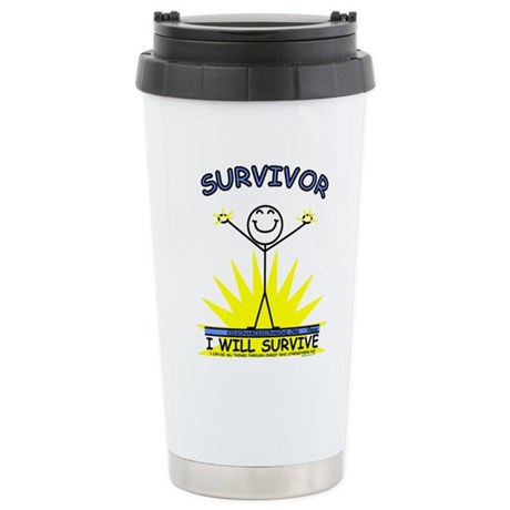 SURVIVOR - blue Stainless Steel Travel Mug