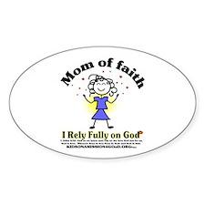 Mom of Faith Oval Decal