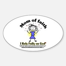 Mom of Faith Oval Decal