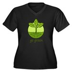 Go Green Women's Plus Size V-Neck Dark T-Shirt