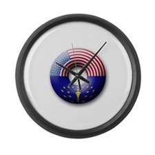 USA - Indiana Flag Donut Large Wall Clock
