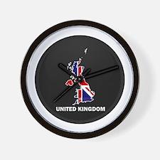 Flag Map of United Kingdom Wall Clock