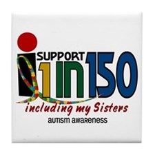 I Support 1 In 150 & My Sisters Tile Coaster