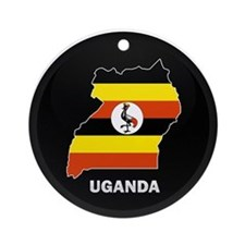 Flag Map of uganda Ornament (Round)