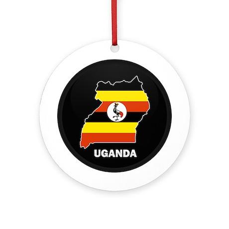 Flag Map of uganda Ornament (Round)