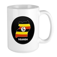 Flag Map of uganda Mug
