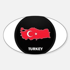 Flag Map of Turkey Oval Decal