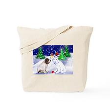 Springer Spaniel and snow Tote Bag