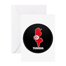 Flag Map of Tunisia Greeting Card