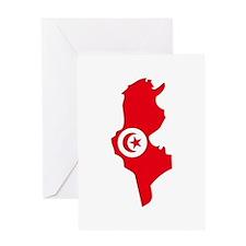 Tunisia Flag Map Greeting Card
