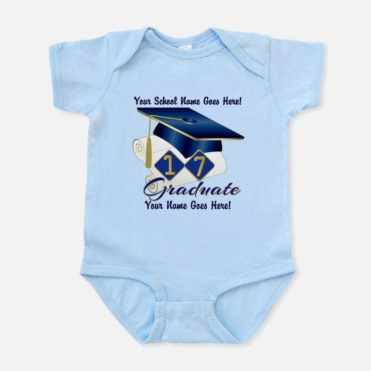 Blue Graduate Cap and Diploma Body Suit
