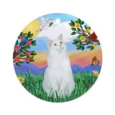 Bright Life / (White) Cat Ornament (Round)