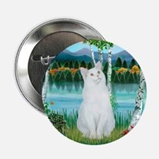 "Birches / (White) Cat 2.25"" Button"