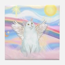 Clouds / (White) Cat Tile Coaster