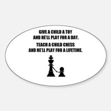 Teach a child chess - Oval Decal