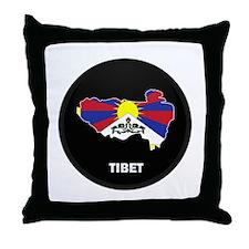 Flag Map of tibet Throw Pillow