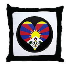 I love tibet Flag Throw Pillow
